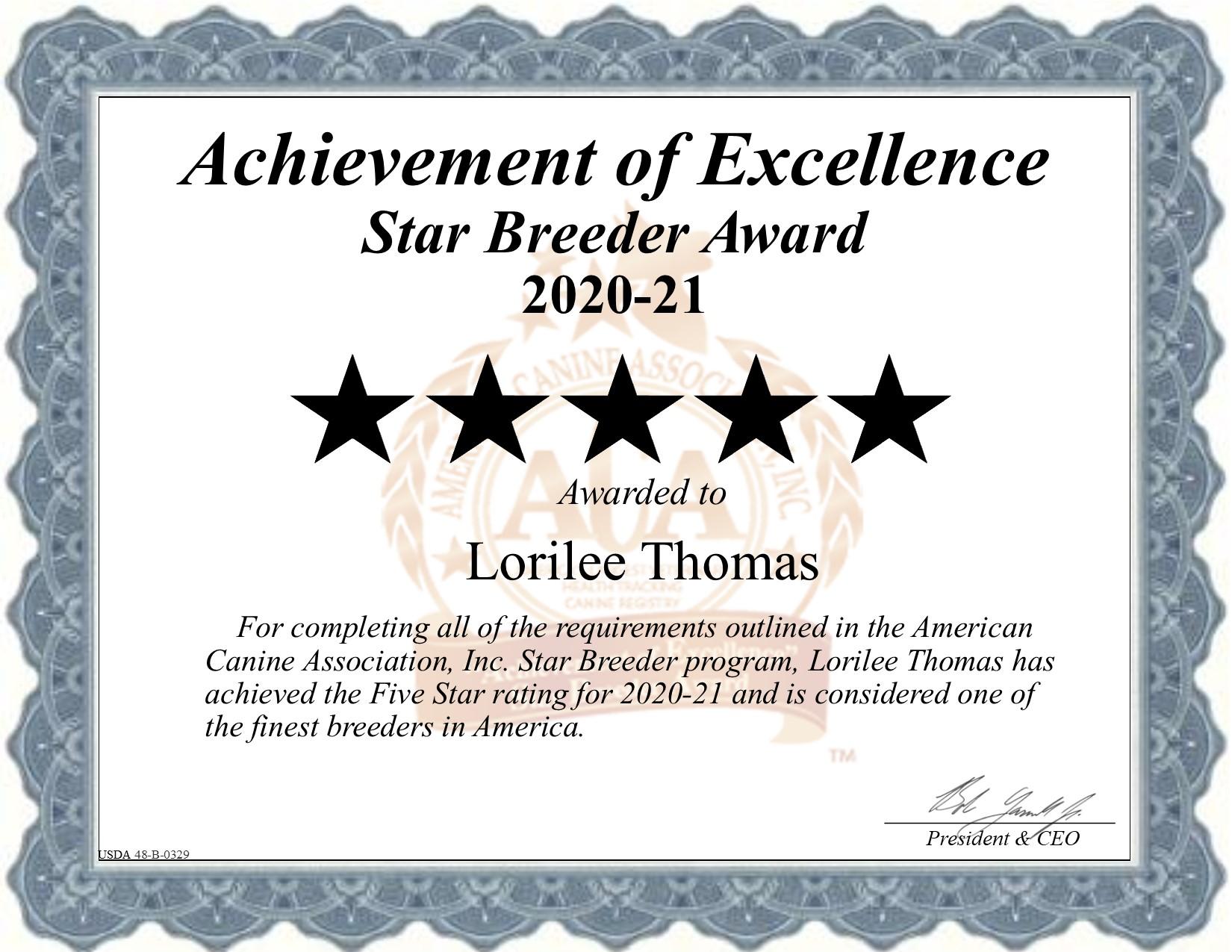 Loriee Thomas dog breeder certificate